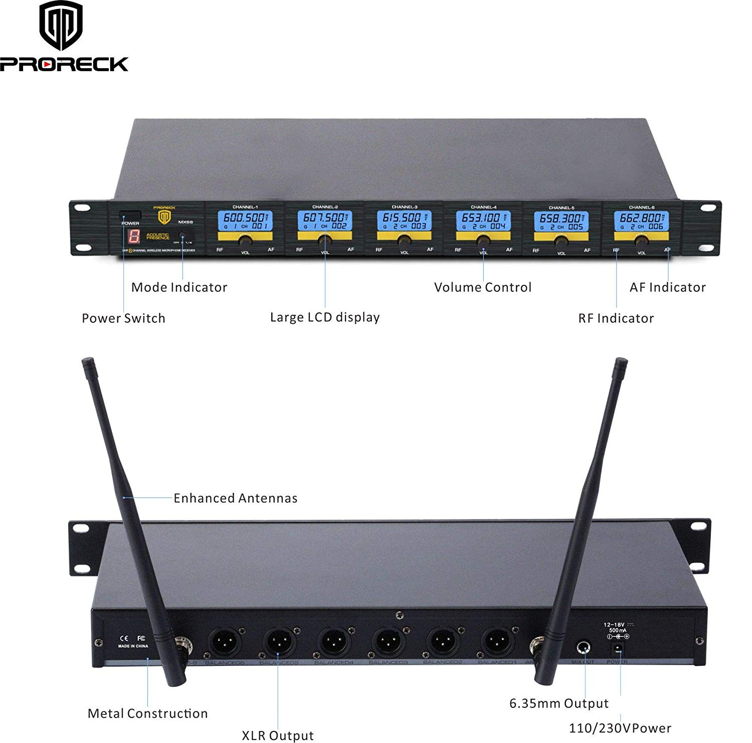 PRORECK MX66 6-Channel UHF Wireless Microphone System with 6