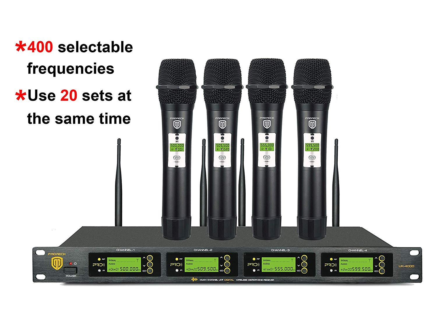 proreck uk 4000 4 channel uhf wireless microphone system with 4 hand held microphones. Black Bedroom Furniture Sets. Home Design Ideas
